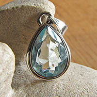 Blue Topaz Pendant with dainty Silver Rim - Indian Jewelry