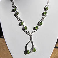 Noble Indian Peridot Jewelry Necklace in 925 Silver