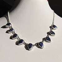 Attractive Necklace Lapis Lazuli facetted - Silver Jewelry