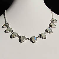 Indian 925 Silver Moonstone Jewelry Necklace - 18-5