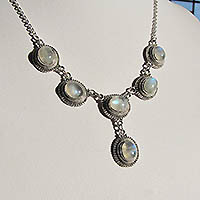 Moonstone Necklace impressively ornated - Silver Jewelry