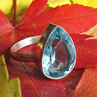 Indian Blue Topaz Ring - shiny 925 Sterling Silver Setting