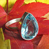 Indian Silver Ring Jewelry - Blue Topaz in drop-shape