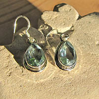 Indian Blue Topaz Earrings - dainty Rim in 925 Silver