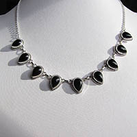 Charming Necklace with Onyx in delicate Silver Ornament