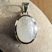 Indian moonstone silver jewelry pendant oval 18-2