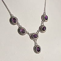 Indian Amethyst Jewelry Necklace 925 Silver - 18-8