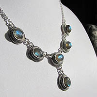 Shimmering Labradorite Necklace - Indian Silver Jewelry