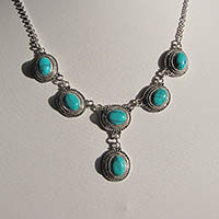 Dainty Turquoise Necklace - Indian Jewelry 925 Silver