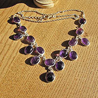 Indian 925 Silver Necklace with fine Amethyst 'Beads'