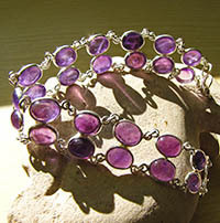 Indian Jewelry Silver Bracelet double row Amethyst 18-1