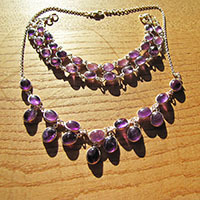 "Amethyst Collier mit Armband ovale ""Perlen"" in Silber 18-1"