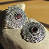 Indian Earrings Jewelry with Garnet in Silver braid 18-2