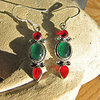 Gorgeous Earrings Silver Jewelry with Carnelian and Jade
