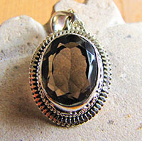 Indian silver pendant with oval smokey quartz 18-1