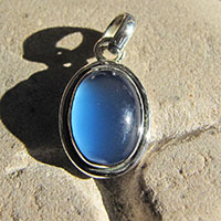 Indian Chalcedony darb blue silver pendant jewelry 18-1
