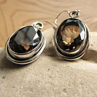 Earrings Smoky Quartz facetted - Indian Silver Jewelry