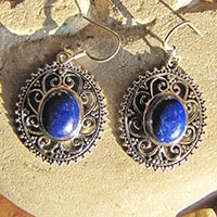Indian Earrings Jewelry Lapis Lazuli with Silver Braid 18-3