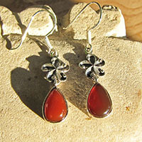 Indian Carnelian Earrings with Silver Flower Ornament