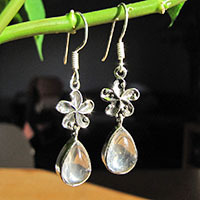 Indian Rock Crystal Earrings ornated Petal 925 Silver