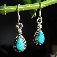 Very dainty Earrings with Turquoise - Indian Silver Jewelry