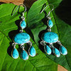 Splendid Earrings with Turquoise - Ethnic Design in Silver