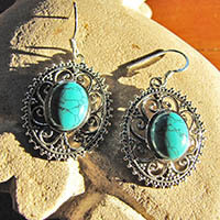 Indian Earrings with Turquoise - floral 925 Silver Braid