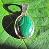 Pendant with Malachite - Indian 925 Silver Jewelry