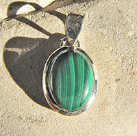 Indian silver jewelry pendant with malachite 18-1-2