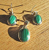 Malachite Pendant and Earrings - Jewelry Set 925 Silver