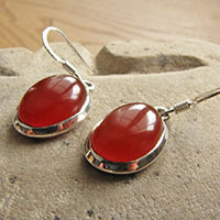 Indian silver earrings with red onyx 18-1