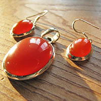 Red Onyx Combination Offer Earrings, Pendant - 18-1