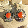 Indian Earrings Red Onyx floral Silver Ornament 18-2