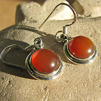 Indian Carnelian Earrings Jewelry - small Silver Rim