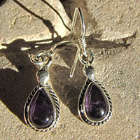 Indian Earrings Jewelry with Amethyst 925 Silver 18-3
