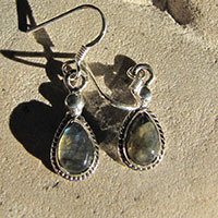 Very dainty Labradorite Earrings - Indian Silver Jewelry