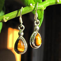 925 Sterling Silver Earrings with tiger eye 18-1