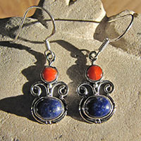 Indian earrings with red coral and lapis lazuli 18-1