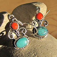 Indian Earrings Turquoise and Red Coral in 925 Silver