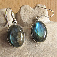 Indian 925 Silver Earrings Jewelry - oval Labradorite green hue