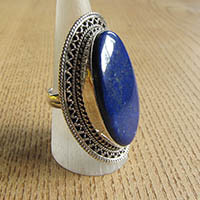 Indian Lapislazuli Ring - Silver Jewelry 18-1-2