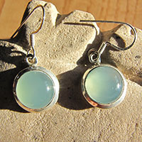 Indian silver earrings with chalcedony 18-3