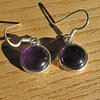 Indian Earrings Jewelry - Amethyst round in 925 Silver