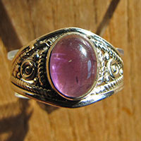 Indian Amethyst Ring - Silver Jewelry 18-1-2