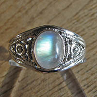 Indian Moonstone Ring - Silver Jewelry 18-1-1