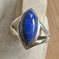 Impressive Indian Lapislazuli Ring - 925 Sterling Silver Jewelry