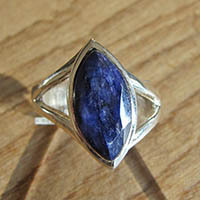 Indian blue sapphire Ring - Silver Jewelry 18-1-1