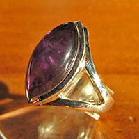 Indian Amethyst Ring in Navette Shape - 925 Silver Jewelry