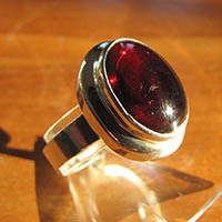 Indian Garnet Ring - Silver Jewelry 18-1-3