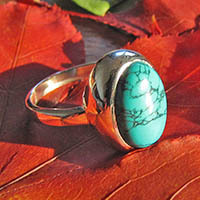 Indian Ring with Turquoise - wide shiny 925 Silver Setting